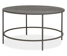 Living Room  Slim Round Cocktail Table in Natural Steel - Cocktail Tables Room & Board