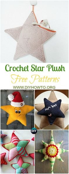 Crochet Star Plush Toys Free Patterns: Amigurumi Crochet Star, Star Pillow, Star Ornament Home Decorating, Baby Nursery