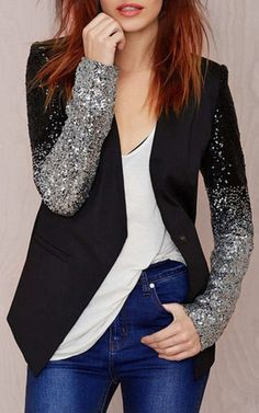 Chic Plunging Neck Sequined Long Sleeve Blazer For Women