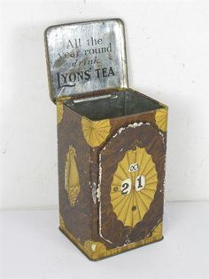 "vintage Lyons' Tea tea tin w/ perpetual calendar front .. ""All the year round drink Lyons Tea"" slogan on inner lid, early 1900s, UK"