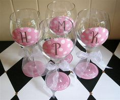 Hey, I found this really awesome Etsy listing at http://www.etsy.com/listing/96665738/bridesmaid-wine-glasses-oval-initial-set