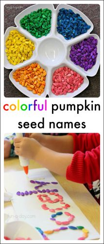 with Colorful Pumpkin Seeds Colorful name activities using pumpkin seeds! Meaningful, beautiful, and educational!Colorful name activities using pumpkin seeds! Meaningful, beautiful, and educational! Preschool Names, Preschool Art, Pumpkin Preschool Crafts, Halloween Preschool Activities, Pumpkin Seed Activities, Seed Crafts For Kids, Pumpkin Seed Crafts, October Preschool Crafts, Seeds Preschool