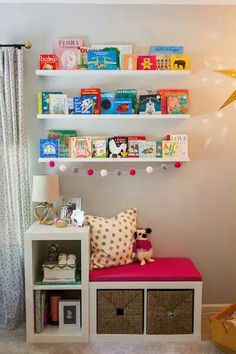 Quinn's Gray and Pink Whimsical Nursery Bookcases Turned into Reading Nook – so clever, easy and affordable! The post Quinn's Gray and Pink Whimsical Nursery appeared first on Woman Casual. Ikea Bookcase, Ikea Shelves, Kids Room Shelves, Kallax Shelving, Nursery Bookshelf, Bookshelves Kids, Whimsical Nursery, Toy Rooms, Little Girl Rooms