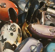 """Gas Tanks, 1998, Tobin Sprout, American b. 1955, 38 x 36 inches, oil on canvas, $28,500 –These portraits of a motley assembly of disembodied motorcycle gas tanks continues Sprout's exploration and fascination with the beauty and impermanence of 20th Century industrial design. An atypical painting in the series of Sprout's """"Superchrome"""" oversize photorealism,"""" """"Gas Tanks"""" from 1999 is less sparkle, more tonal and meditative. The composition moves neatly towards a balanced abstraction of… Photorealism, Fascinator, Oil On Canvas, Motorcycle, Painting, Vehicles, Atypical, Industrial Design, Tanks"""