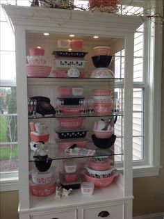 Pyrex; PINK! black & white 2015 - saving this for the way it's displayed so I can try to do something similar
