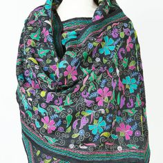 Hand-embroidered Silk Scarf: Garden - SHE India ♥ Kantha www. Embroidered Silk, Vera Bradley Backpack, Wearable Art, Thrifting, Scarves, India, Garden, Women, Fashion