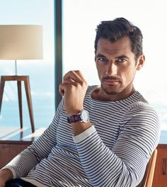 David Gandy could wear a trash bag and make it look good. Digging this nautical look with the stripes. Classic, really. Wrist watch is a nice accessory.