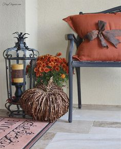 Coordinating Fall Ribbon- Around pillow & around candle. Warm colors welcoming by front porch. So easy to make! #FallHomeDecor
