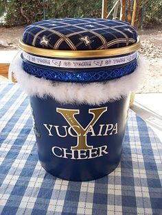 cheer bucket: Cute for the girls to put EVERYTHING in for the day: hair, make up etc... cheerleader can sit mom stands???