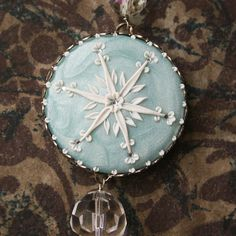 snowflakes  long necklace  RESERVED by ChiliCrab on Etsy