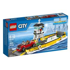 Build a ferry and car, featuring opening gates and space for transporting car! Includes 2 minifigures, a businessman and ferry boat captain minifigures LEGO City building toys are compatible with all LEGO construction sets for creative building Lego City Sets, Lego Sets, Boat Building, Building Toys, Legos, Power Rangers, Boutique Lego, Lego Age, Van Lego