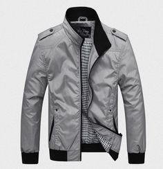 Item Type:Outerwear & Coats Outerwear Type:Jackets Gender:Men Clothing Length:Regular Cuff Style:Conventional Closure Type:Zipper Hooded:No Collar:Mandarin Collar Decoration:None Sleeve Style:Regular