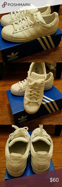 CLASSIC ADDIDAS!! White on white! Fun summer hard shell toe Classic Addidas...all white! In perfect used condition. A great addition to any sneaker collection! Adidas  Shoes Sneakers
