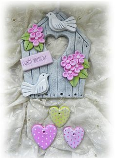Craft Clay Paint New Ideas Polymer Clay Crafts, Diy Clay, Diy And Crafts, Crafts For Kids, Arts And Crafts, Clay Wall Art, Clay Art Projects, Clay Paint, Clay Houses