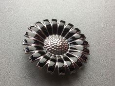 GEORG-JENSEN-Rhodinated-Daisy-Sterling-Silver-Brooch- Pendant 43 mm #GeorgJensen