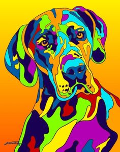 Multi-Color Great Dane Matted Prints & Canvas Giclées. Hand painted and printed in USA by the artist Michael Vistia. Dog Breed: The Great Dane is a large German breed of domestic dog known for its eno
