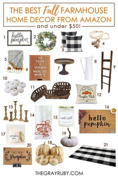 The Best Fall Farmhouse Decor from Amazon that you can snag for under $50! Sophisticated pieces you can use all year round. #farmhousedecor #falldecor Fall Home Decor, Autumn Home, Hygge, Artificial Pumpkins, Amazon Home Decor, Autumn Activities For Kids, Different Holidays, Happy Fall Y'all, Autumn Inspiration