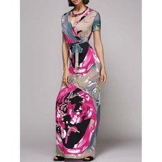 Alluring Plunging Neck Short Sleeve Color Block Women's Dress