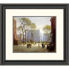Global Gallery 'Late Afternoon, Washington Square' by Paul Cornoyer Framed Painting Print Size:
