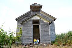 Old school house on the farm. WI & MN lifestyle photographer Aaron Rebarchek