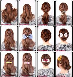 3 different hairstyles with two side braids.