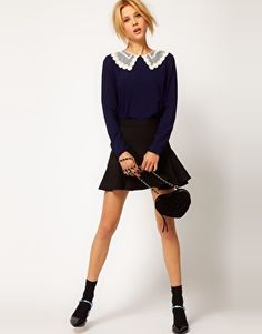 Embroidered Mesh Collar