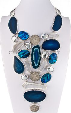 Style# LBN61: Agate, Platinum Druse, Rock Crystal & Abalone set in sterling silver. Retail $ 1,800