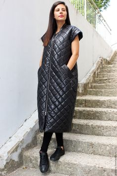 Asymmetric Sleeveless Coat V0016 - длинная толстовка, пальто с капюшоном, пальто дизайнерское