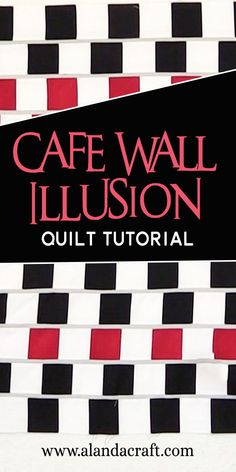 Watch our quilting tutorial on how to make this fascinating Cafe Wall Illusion Quilt. This quilting pattern is made with straight lines but the effect is quite different. A really interesting quitling design. Quilting For Beginners, Quilting Tutorials, Quilting Projects, Quilting Designs, Sewing Tutorials, Quilt Design, Diy Sewing Projects, Sewing Projects For Beginners, Cafe Wall