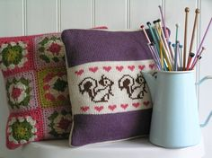 Vintage Rose - Knitted Cushions