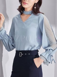 Shop Chic Mesh Splicing Flare Sleeve V-neck Slim Blouse at EZPOPSY.Outfits that will give you confidence and style Kurti Sleeves Design, Sleeves Designs For Dresses, Sleeve Designs, Blouse Styles, Blouse Designs, Bluse Outfit, Mode Hijab, Blouses For Women, Fashion Dresses