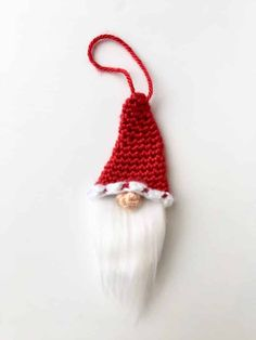 The Santa Gnome Christmas Tree Ornament is a free crochet pattern for a cute and easy gnome ornament or applique! Crochet Christmas Ornaments, Holiday Crochet, Christmas Christmas, Free Christmas Crochet Patterns, Christmas Crafts, Crochet Snowflakes, Christmas Knitting, Christmas Angels, Christmas Stockings