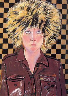Joan Brown   Joan Brown   Self-Portrait in Fur Hat , 1972, enamel on panel, 46 ¾ x ...