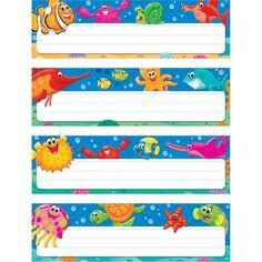 Classroom Direct, Classroom Labels, Preschool Classroom, Classroom Themes, Turtle Classroom, Desk Name Tags, Desk Name Plates, Name Tag Templates, Under The Sea Theme