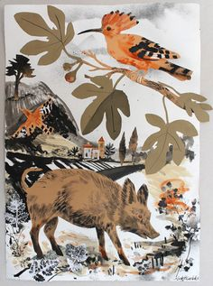 Boar and Hoopoe by Mark Hearld, nature, illustration, collage, art, wild boar, bird, colour