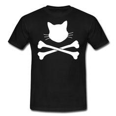 Ein kleiner Katzenkopf mit zwei gekreuzten Knochen, ein Cat Skulls.