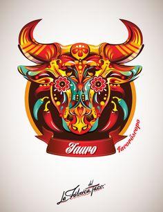 ilustraciones zodiaco tauro Viñetas de signos zodiacales por Fly Design Studio de Argentina