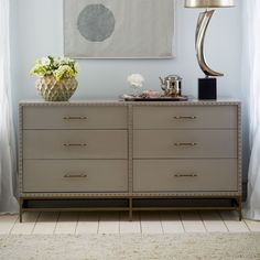 Nailhead 6-Drawer Dresser - West Elm.  Perfect for the living room nook.