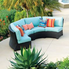 Looking at 'Patio Republic Valencia Curved Outdoor Wicker Sectional Sofa' on SHOP. Small Sectional Sofa, 3 Piece Sectional, Small Sofa, Sofa Set, Curved Patio, Curved Sofa, Outdoor Seating, Outdoor Decor, Outdoor Furniture