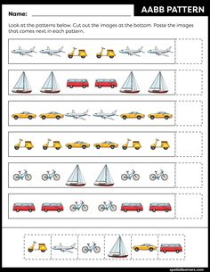 These FREE printable worksheets for kids are great for practicing spatial concepts! These patterns worksheets can be used as homework, bell-ringer activity, warm-up activity, or speech therapy work. Fun activity for your kindergarten or grade 1 students! Kids Math Worksheets, Free Printable Worksheets, Toddler Learning Activities, Preschool Activities, Visual Perception Activities, Transportation Activities, Pattern Worksheet, Math Patterns, Math For Kids