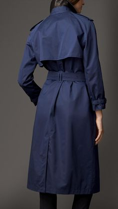 Burberry London Long Cotton Sateen Oversize Trench Coat  /  Navy  Color
