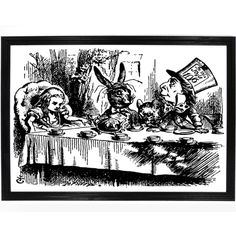 """digital reprint of the tea party from the original printing Lewis Carroll's """"Alice in Wonderland. Originally done by John Tenniel, this black and white reprint is perfect for any fan of Lewis Carroll's timeless classic. Alice in Wonderland Tea Party – Falstaff Trading"""