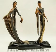 "Erte Art Deco ""Duetto"" Designer Bronze Sculpture Figurine 422 500 Seven Arts 