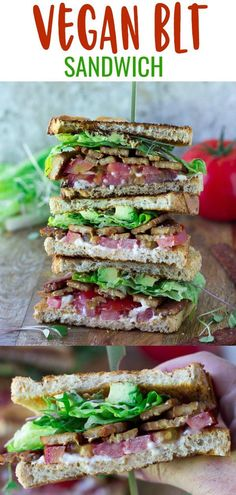 Vegan BLT Sandwich with the best tempeh bacon (baked), lettuce, tomatoes, egg-free mayo + avocado & sprouts! Best Vegan Recipes, Vegan Dinner Recipes, Vegan Dinners, Vegetarian Recipes, Healthy Recipes, Tempeh Recipes Vegan, Blt Recipes, Vegetarian Diets, Sandwich Recipes