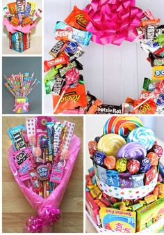 OMG these candy wreath and candy gift bouquet ideas are gonna be perfect gifts for my coworkers and teachers this year! I can't wait to try to make these fun ideas . the candy cake is so stinkin' cute! I'm so PINNING these creative candy gift ideas! Candy Bouquet Diy, Candy Wreath, Gift Bouquet, Food Bouquet, Candy Gift Baskets, Candy Gifts, Jar Gifts, Gift Card Basket, Kids Gift Baskets