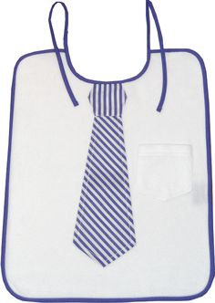 One bib for men and one bib for babys. Neat idea for Daddy and son: a bib with a necktie applique. Small size only $3.50 in soft terry.