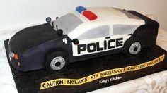 Large sculpted police car cake for a car loving birthday boy. Police Birthday Cakes, Police Car Cakes, 10 Birthday Cake, Cars Birthday Parties, Boy Birthday, Minion Birthday, Fourth Birthday, Car Cakes For Boys, Lego Police