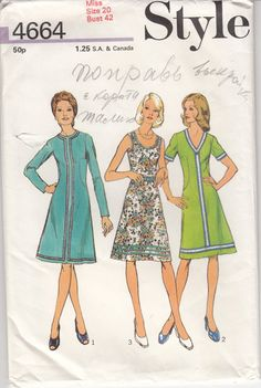 Vintage 70s Sewing Pattern WOMENS DRESS Three by HoneymoonBus, $7.99