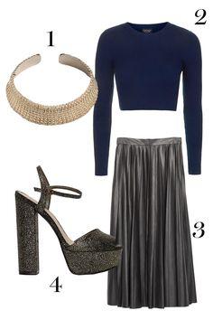 1. & Other Stories choker, $180,stories.com.  2.Topshop crop top, $50; topshop.com.   3. Zara skirt, $79.90; zara.com.   4.Nasty Gal heels, $88; nastygal.com.  - MarieClaire.com