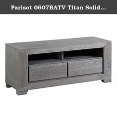 Parisot 0607BATV Titan Solid Oak TV Stand/Unit with 2 Drawers and Shelves, Grey. Movie night with family & friends - just tune into your favorites films from the Titan TV stand. Made of grey solid oak & veneered oak fronts featuring two (2) roomy drawers & two (2) open shelves for convenient storage of remotes, books, games & magazines...... pass the popcorn please!!!.